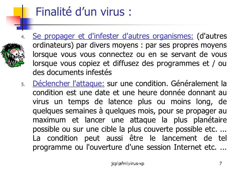 jcp\afm\virus-xp18 Les anti-virus : La première chose à savoir cest quun anti-virus nest efficace que sil est capable didentifier le virus : Chaque virus à sa « signature » (Ce sont des fiches signalétiques qui vont permettre à lantivirus de repérer les virus dans lordinateur).