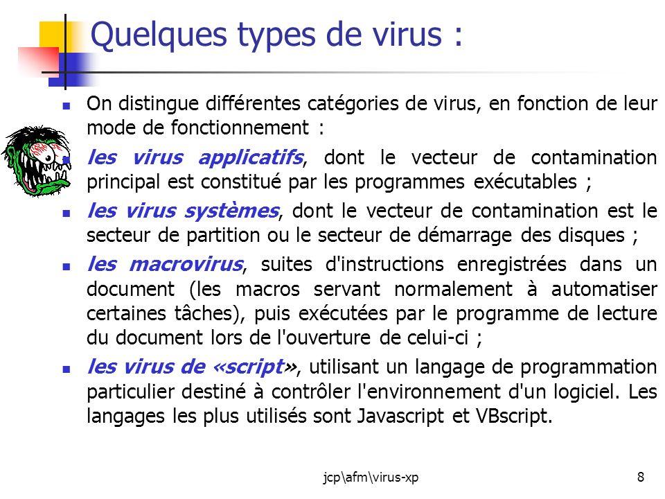 jcp\afm\virus-xp9 Autres formes de virus : Les vers : On distingue aussi les vers (Worm en anglais).