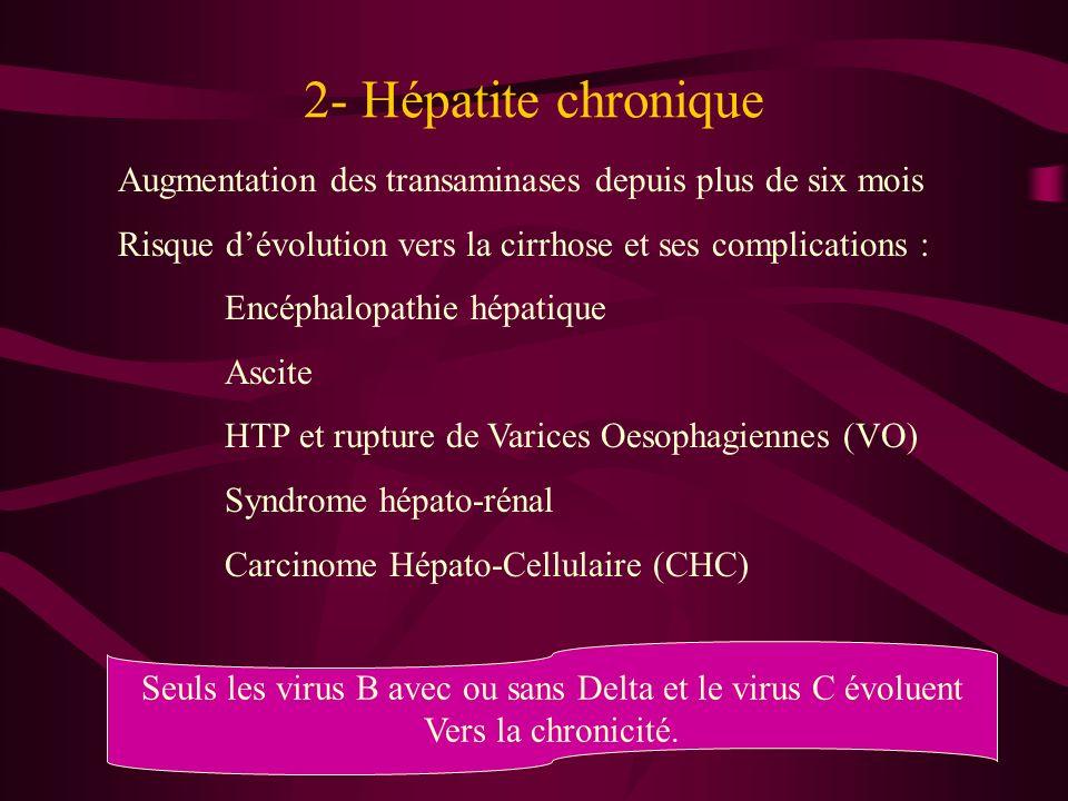 2- Hépatite chronique Augmentation des transaminases depuis plus de six mois Risque dévolution vers la cirrhose et ses complications : Encéphalopathie