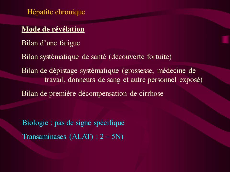 Hépatite chronique Mode de révélation Bilan dune fatigue Bilan systématique de santé (découverte fortuite) Bilan de dépistage systématique (grossesse,