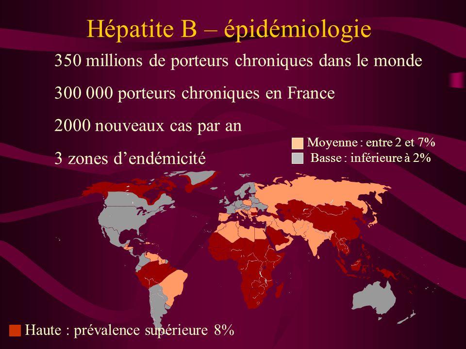 Hépatite B – épidémiologie 350 millions de porteurs chroniques dans le monde 300 000 porteurs chroniques en France 2000 nouveaux cas par an 3 zones de