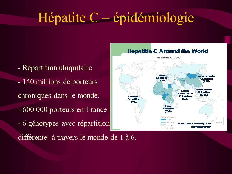 Hépatite C – épidémiologie - Répartition ubiquitaire - 150 millions de porteurs chroniques dans le monde. - 600 000 porteurs en France - 6 génotypes a