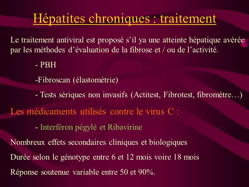 Hépatites chroniques : traitement Le traitement antiviral est proposé sil ya une atteinte hépatique avérée par les méthodes dévaluation de la fibrose