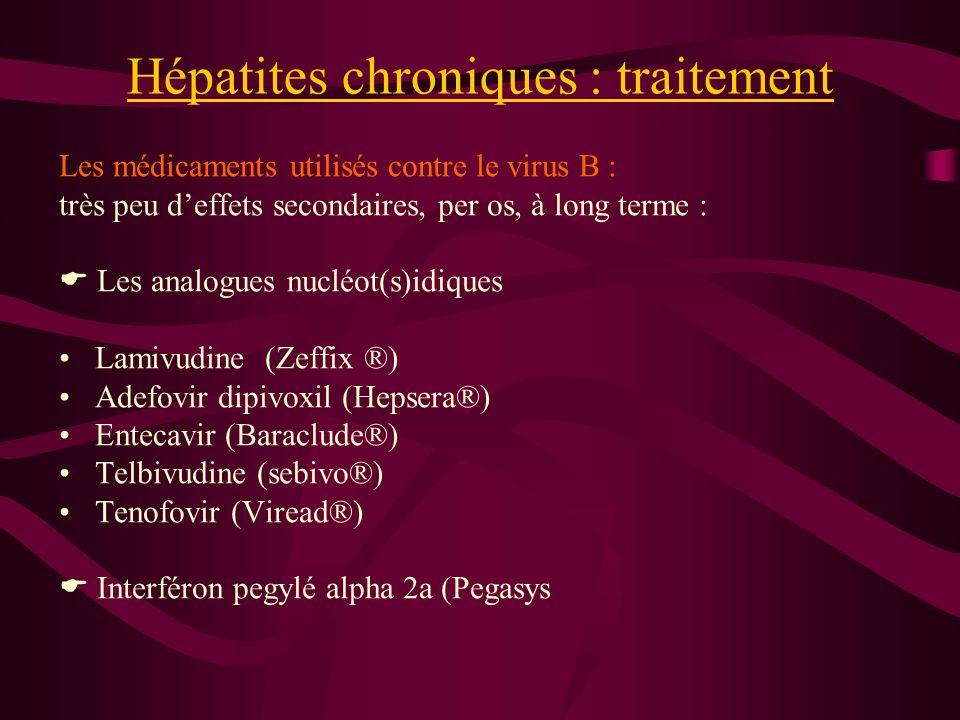 Hépatites chroniques : traitement Les médicaments utilisés contre le virus B : très peu deffets secondaires, per os, à long terme : Les analogues nucl
