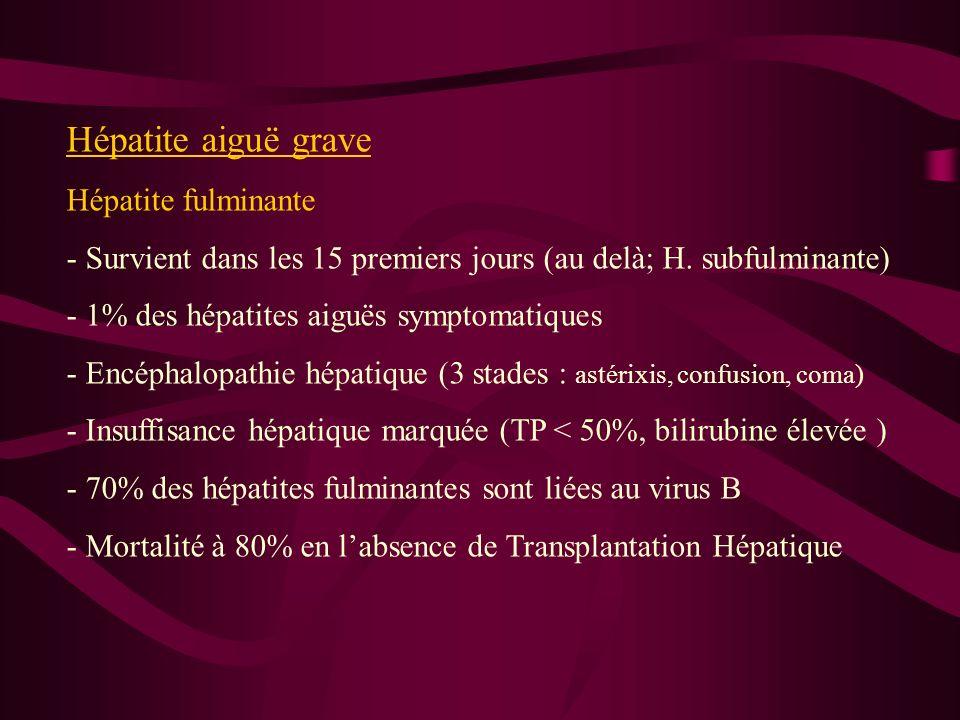 Hépatite aiguë grave Hépatite fulminante - Survient dans les 15 premiers jours (au delà; H. subfulminante) - 1% des hépatites aiguës symptomatiques -