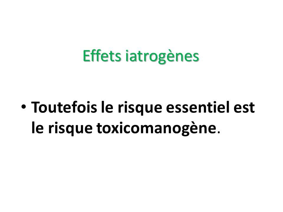 Toutefois le risque essentiel est le risque toxicomanogène. Effets iatrogènes