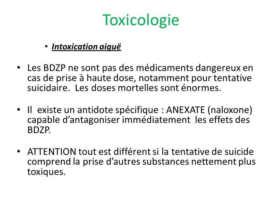 Toxicologie Intoxication aiguë Les BDZP ne sont pas des médicaments dangereux en cas de prise à haute dose, notamment pour tentative suicidaire. Les d
