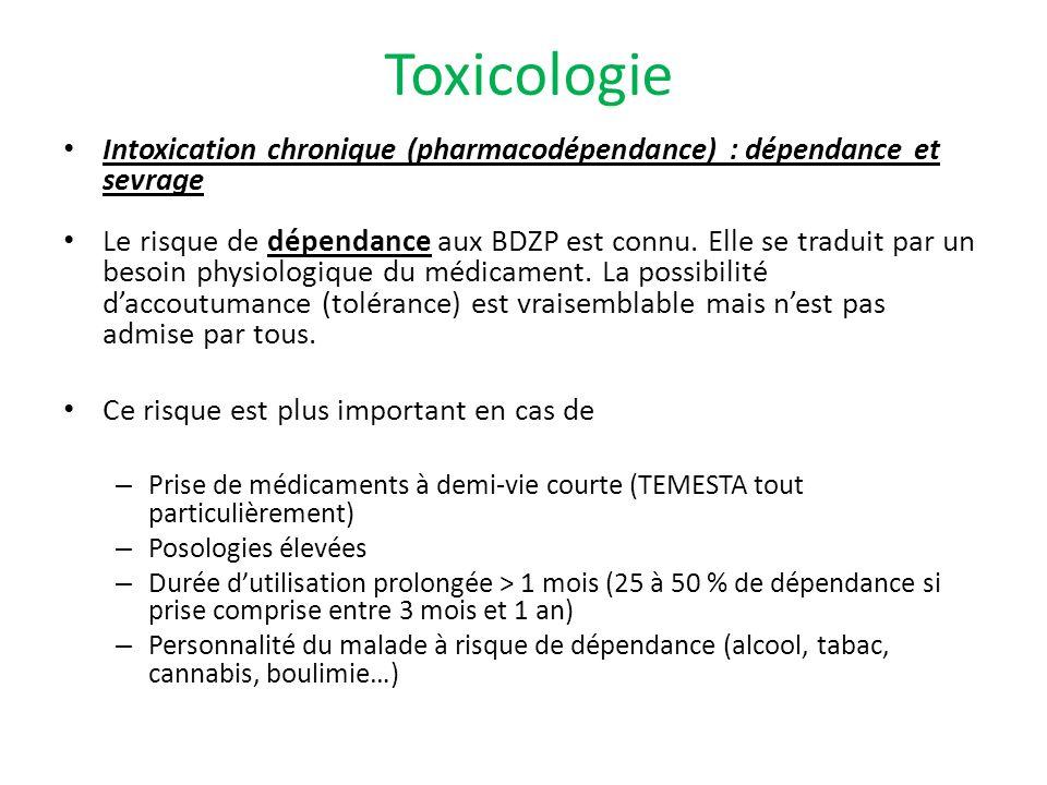 Intoxication chronique (pharmacodépendance) : dépendance et sevrage Le risque de dépendance aux BDZP est connu. Elle se traduit par un besoin physiolo