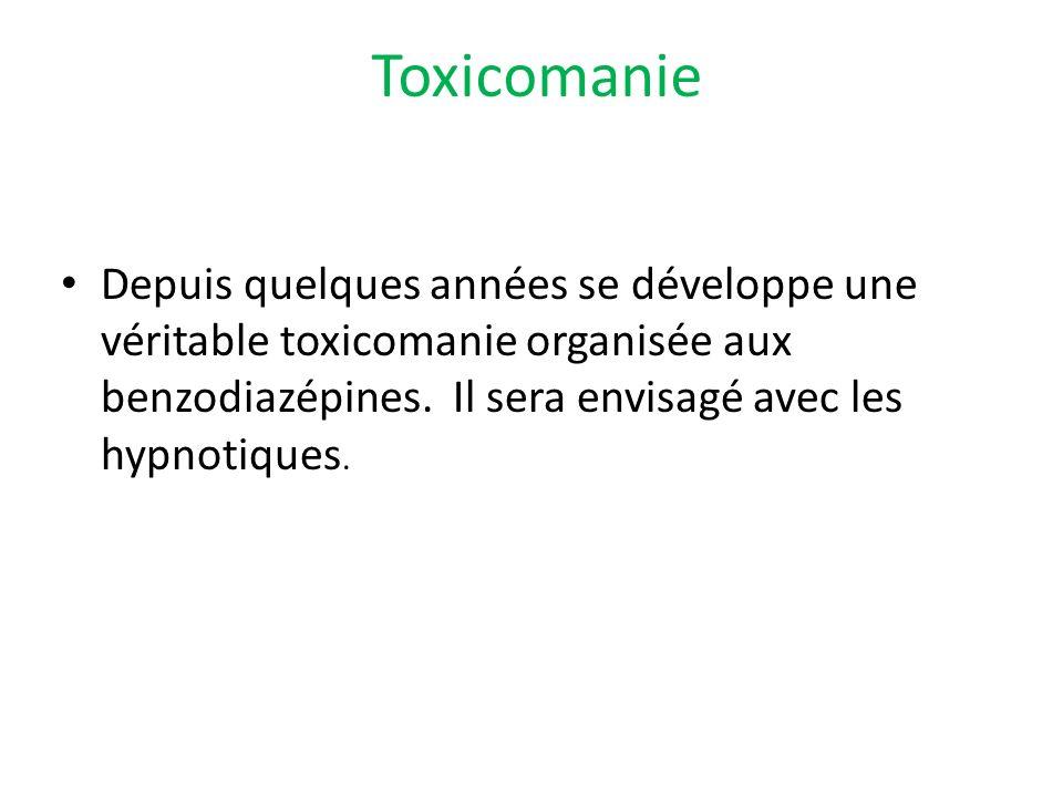 Depuis quelques années se développe une véritable toxicomanie organisée aux benzodiazépines. Il sera envisagé avec les hypnotiques. Toxicomanie