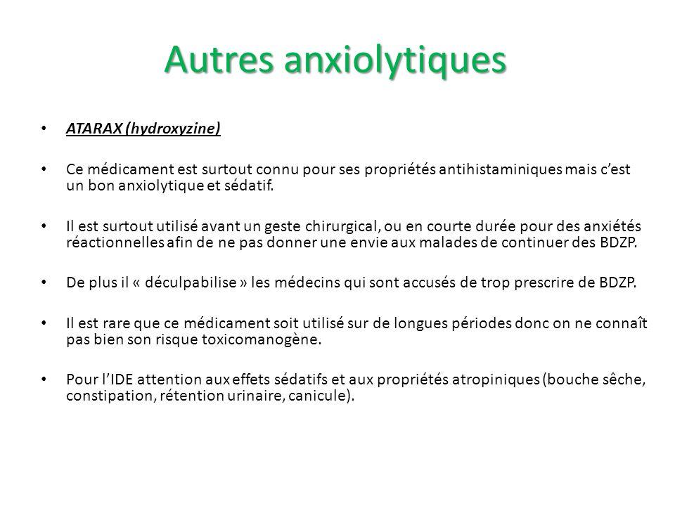 ATARAX (hydroxyzine) Ce médicament est surtout connu pour ses propriétés antihistaminiques mais cest un bon anxiolytique et sédatif. Il est surtout ut