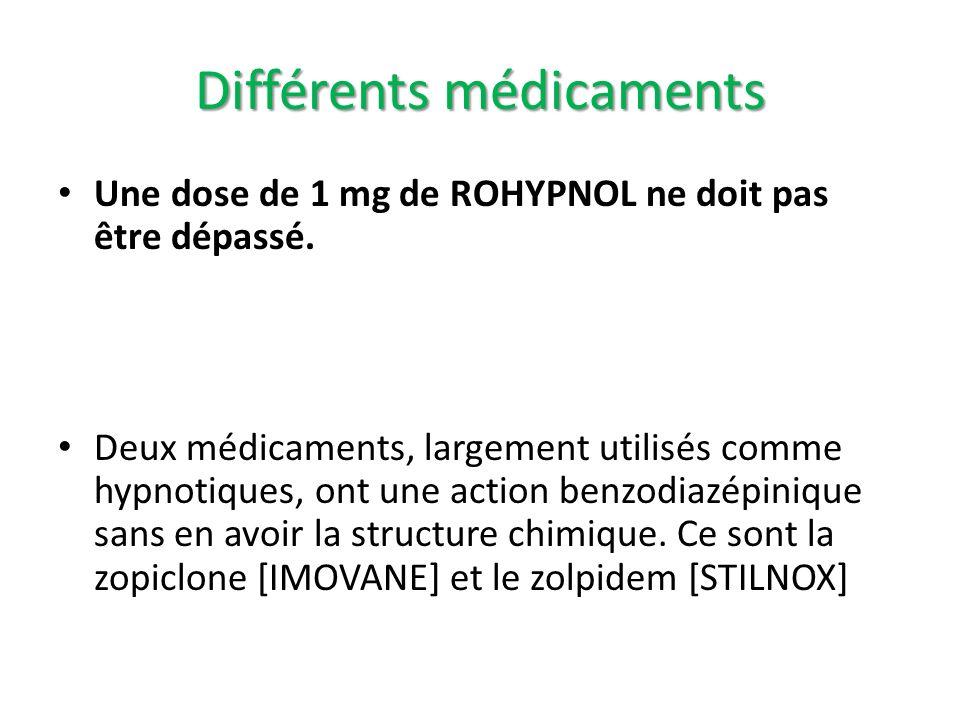 Une dose de 1 mg de ROHYPNOL ne doit pas être dépassé. Deux médicaments, largement utilisés comme hypnotiques, ont une action benzodiazépinique sans e