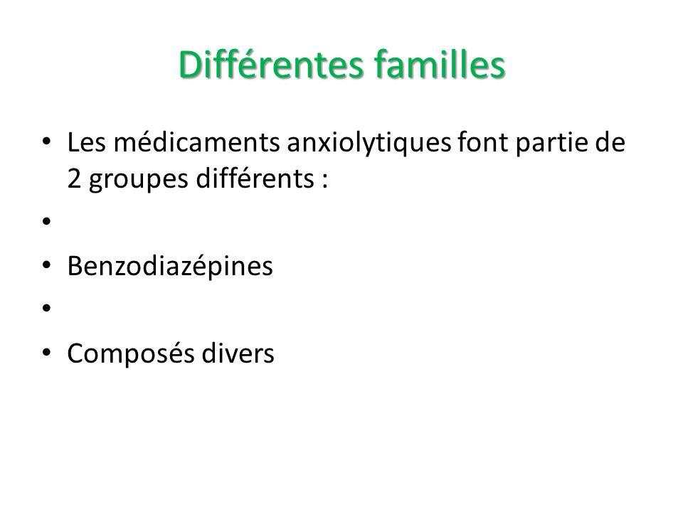 Différentes familles Les médicaments anxiolytiques font partie de 2 groupes différents : Benzodiazépines Composés divers