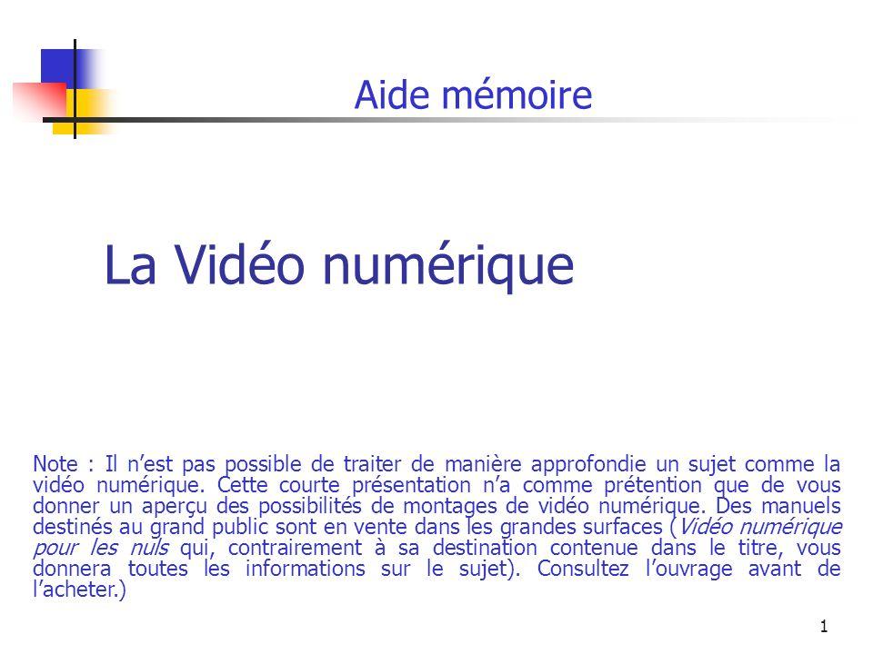 1 La Vidéo numérique Aide mémoire Note : Il nest pas possible de traiter de manière approfondie un sujet comme la vidéo numérique.
