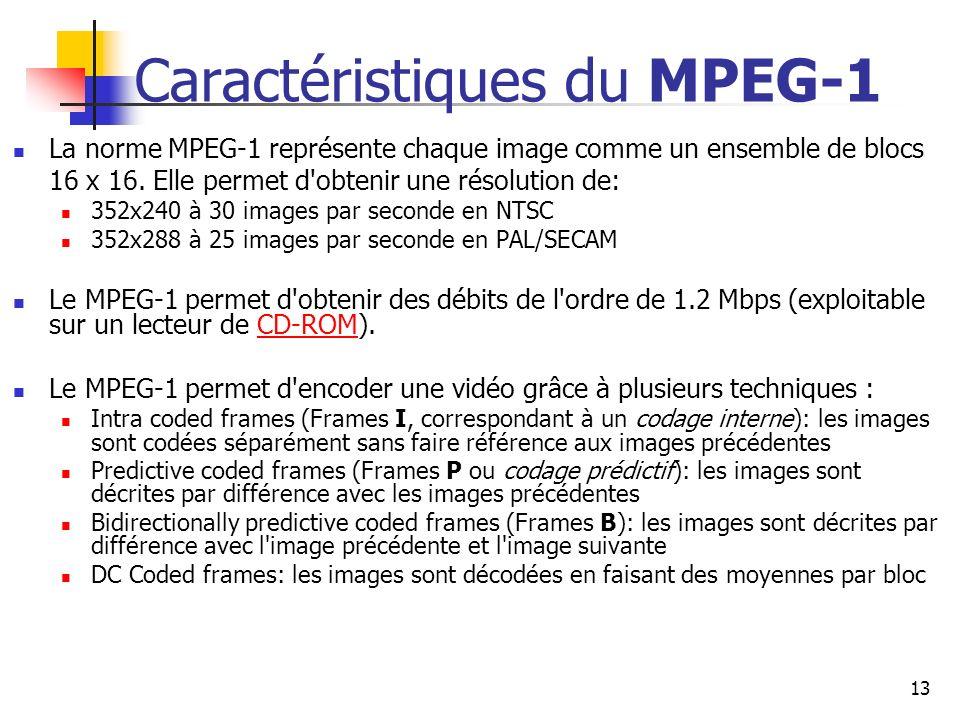 13 Caractéristiques du MPEG-1 La norme MPEG-1 représente chaque image comme un ensemble de blocs 16 x 16. Elle permet d'obtenir une résolution de: 352