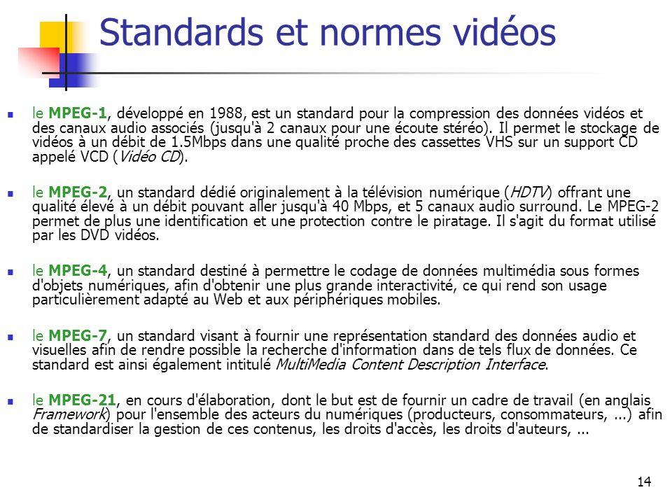14 Standards et normes vidéos le MPEG-1, développé en 1988, est un standard pour la compression des données vidéos et des canaux audio associés (jusqu à 2 canaux pour une écoute stéréo).
