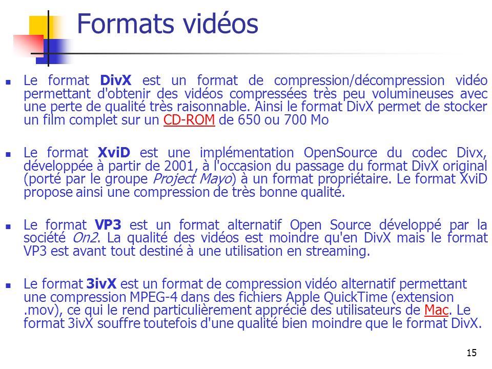 15 Formats vidéos Le format DivX est un format de compression/décompression vidéo permettant d obtenir des vidéos compressées très peu volumineuses avec une perte de qualité très raisonnable.