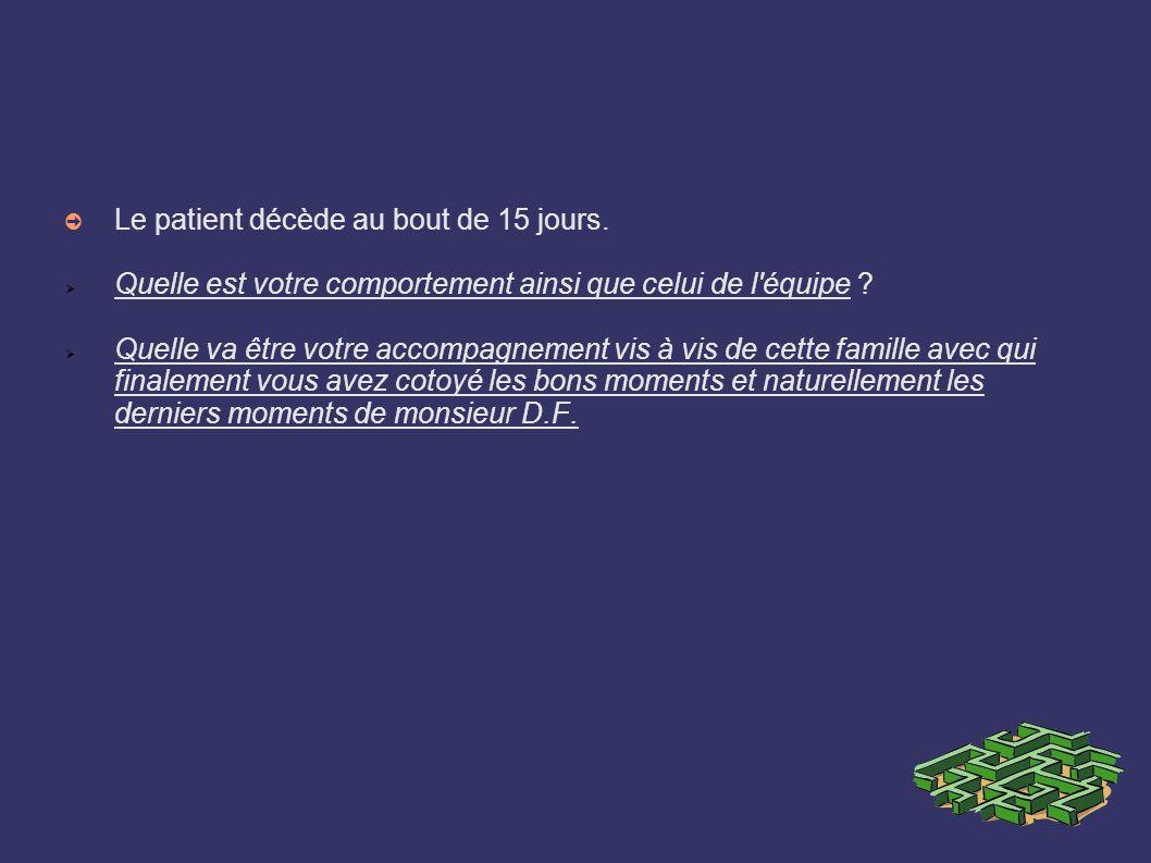 Le patient décède au bout de 15 jours. Quelle est votre comportement ainsi que celui de l'équipe ? Quelle va être votre accompagnement vis à vis de ce