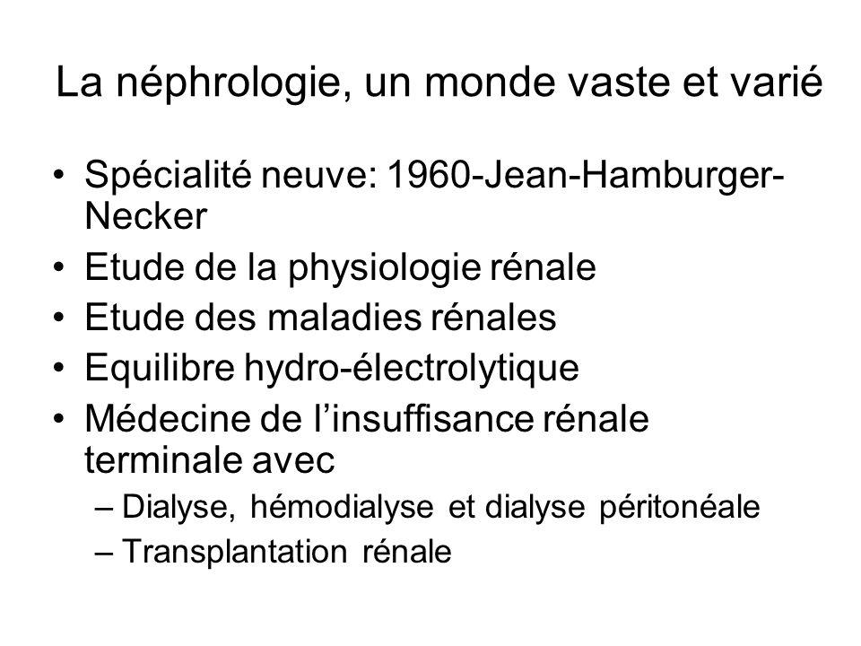 Importance de la néphrologie Rôle majeur du rein dans léquilibre hydro-électrolytique Latteinte rénale est fréquente dans de nombreuses pathologies, infectieuses, urologiques (lithiases), réanimation (état de choc) maladies systémiques (lupus) diabète… Les maladies rénales peuvent avoir un retentissement sur lensemble de lorganisme La néphrologie est donc une composante importante de la médecine interne Certaines maladies rénales (insuffisance rénale aigue) peuvent tuer dans un temps très court, et font partie des urgences vitales (hyperkaliémie, œdème pulmonaire de surcharge) Le rein est un des organes qui régule la Pression artérielle Le rein est un organe endocrine (sécrétion de lérythropoïétine)