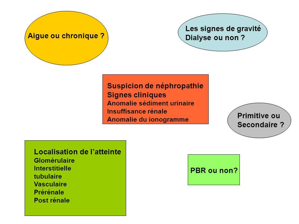 Les signes de gravité Dialyse ou non ? Suspicion de néphropathie Signes cliniques Anomalie sédiment urinaire Insuffisance rénale Anomalie du ionogramm