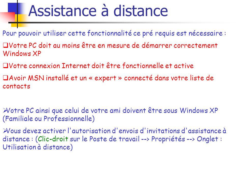 Assistance à distance Pour pouvoir utiliser cette fonctionnalité ce pré requis est nécessaire : Votre PC doit au moins être en mesure de démarrer corr