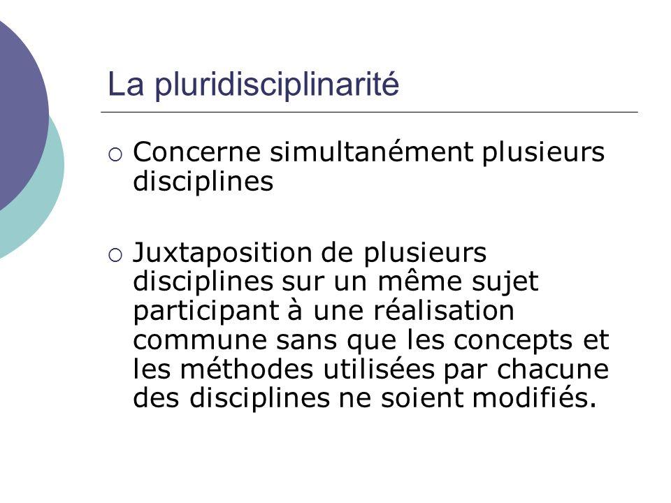 La pluridisciplinarité Concerne simultanément plusieurs disciplines Juxtaposition de plusieurs disciplines sur un même sujet participant à une réalisa