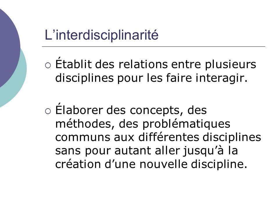 Linterdisciplinarité Établit des relations entre plusieurs disciplines pour les faire interagir. Élaborer des concepts, des méthodes, des problématiqu
