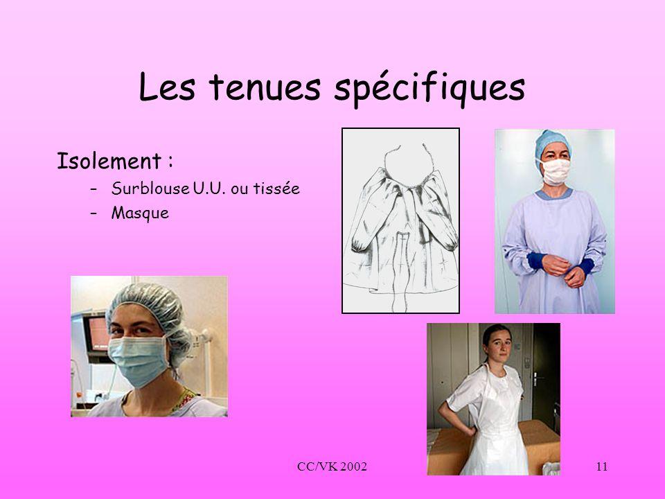 CC/VK 200211 Les tenues spécifiques Isolement : –Surblouse U.U. ou tissée –Masque