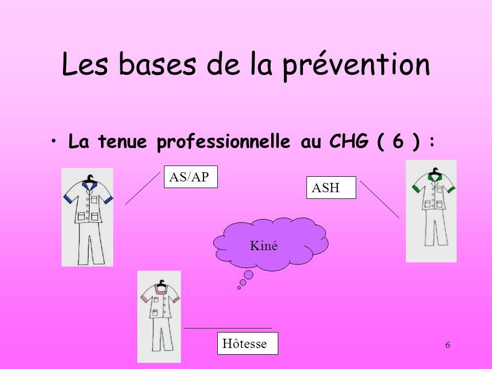 CC/VK 20026 Les bases de la prévention La tenue professionnelle au CHG ( 6 ) : AS/AP ASH Hôtesse Kiné