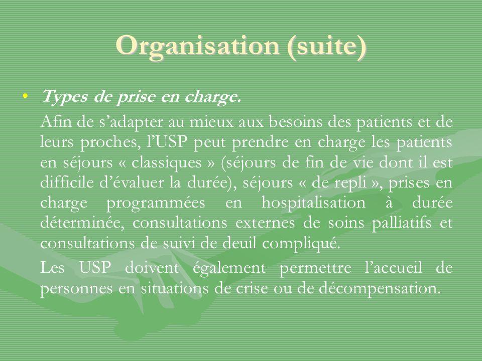 Organisation (suite) Types de prise en charge. Afin de sadapter au mieux aux besoins des patients et de leurs proches, lUSP peut prendre en charge les
