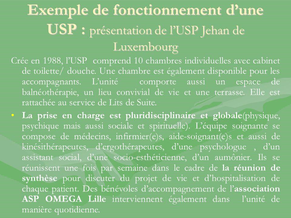 Exemple de fonctionnement dune USP : présentation de lUSP Jehan de Luxembourg Crée en 1988, lUSP comprend 10 chambres individuelles avec cabinet de toilette/ douche.