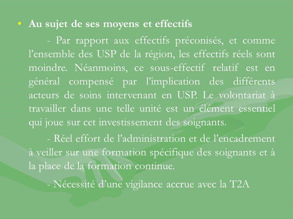 Au sujet de ses moyens et effectifs - Par rapport aux effectifs préconisés, et comme lensemble des USP de la région, les effectifs réels sont moindre.