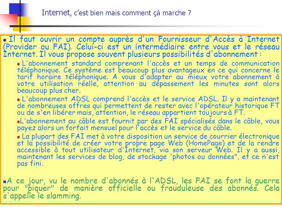 Il faut ouvrir un compte auprès d'un Fournisseur d'Accès à Internet (Provider ou FAI). Celui-ci est un intermédiaire entre vous et le réseau Internet.