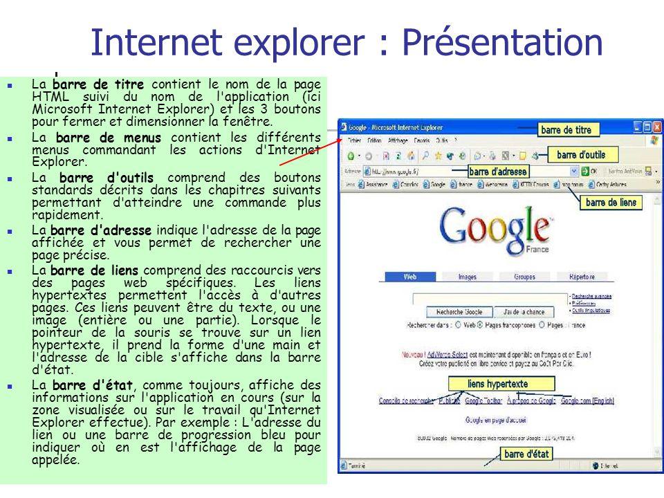 Internet explorer : Présentation La barre de titre contient le nom de la page HTML suivi du nom de l'application (ici Microsoft Internet Explorer) et