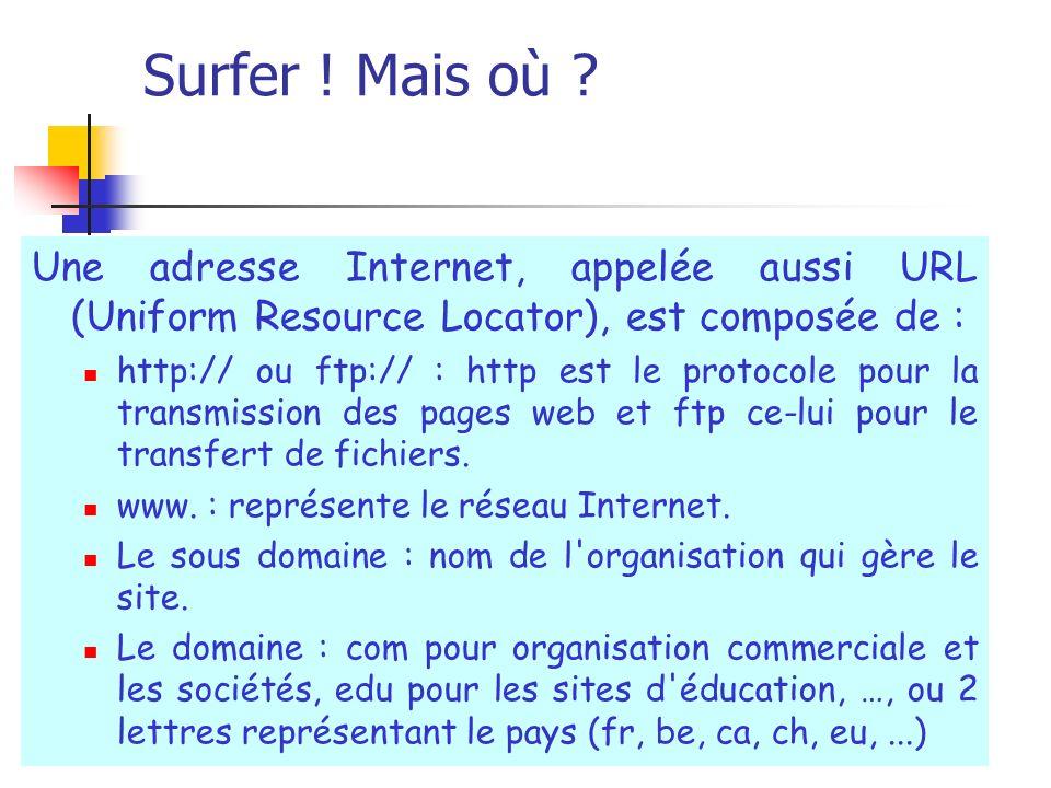 Surfer ! Mais où ? Une adresse Internet, appelée aussi URL (Uniform Resource Locator), est composée de : http:// ou ftp:// : http est le protocole pou
