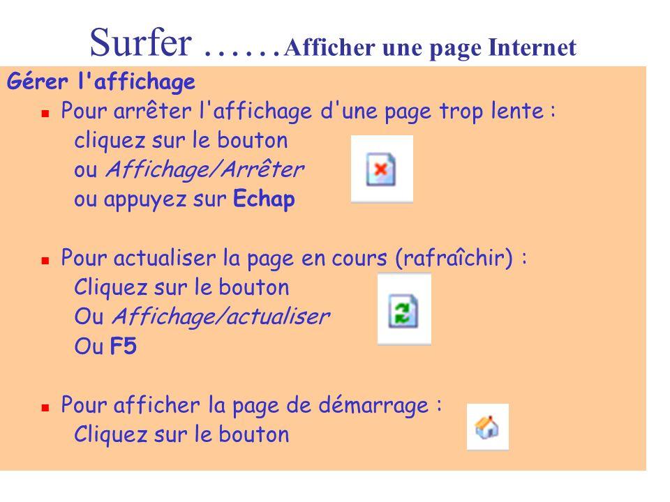 Surfer …… Afficher une page Internet Gérer l'affichage Pour arrêter l'affichage d'une page trop lente : cliquez sur le bouton ou Affichage/Arrêter ou