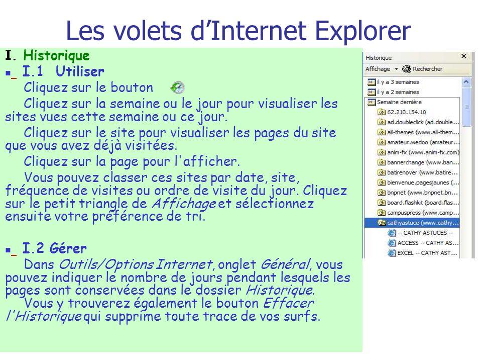 Les volets dInternet Explorer I. Historique I.1 Utiliser Cliquez sur le bouton Cliquez sur la semaine ou le jour pour visualiser les sites vues cette