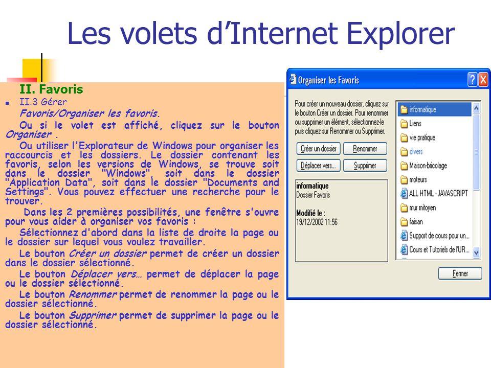 Les volets dInternet Explorer II. Favoris II.3 Gérer Favoris/Organiser les favoris. Ou si le volet est affiché, cliquez sur le bouton Organiser. Ou ut
