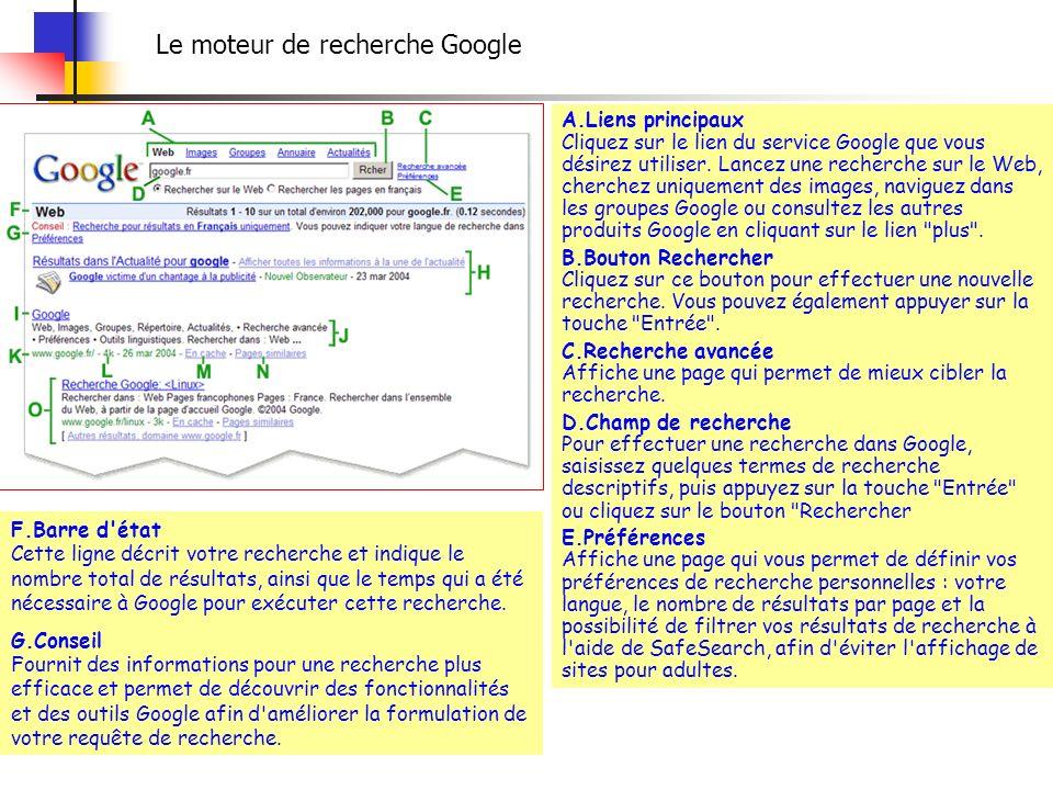 A.Liens principaux Cliquez sur le lien du service Google que vous désirez utiliser. Lancez une recherche sur le Web, cherchez uniquement des images, n