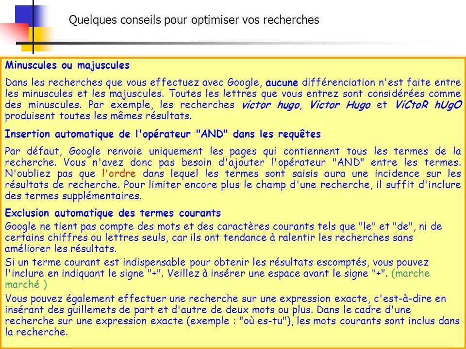 Minuscules ou majuscules Dans les recherches que vous effectuez avec Google, aucune différenciation n'est faite entre les minuscules et les majuscules