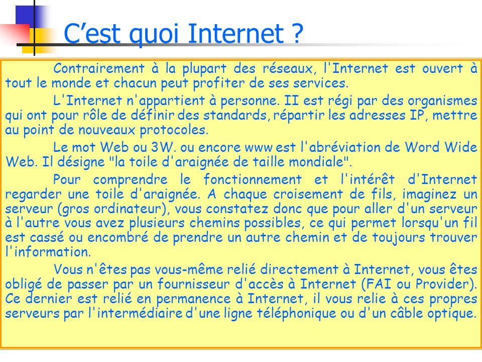 Contrairement à la plupart des réseaux, l'Internet est ouvert à tout le monde et chacun peut profiter de ses services. L'Internet n'appartient à perso