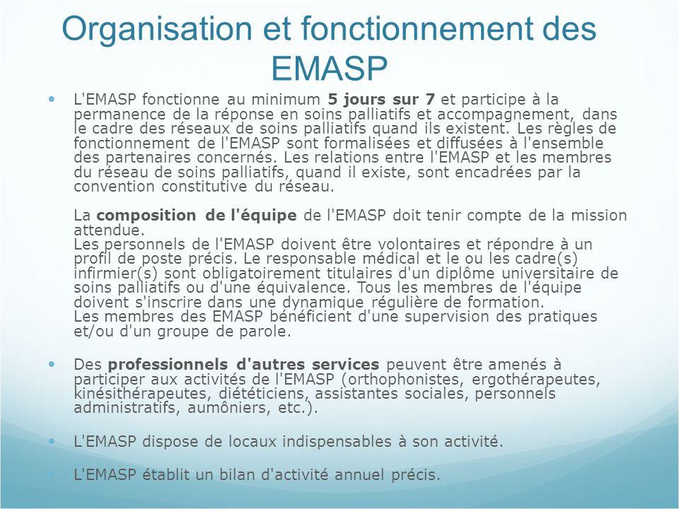 Organisation et fonctionnement des EMASP L EMASP fonctionne au minimum 5 jours sur 7 et participe à la permanence de la réponse en soins palliatifs et accompagnement, dans le cadre des réseaux de soins palliatifs quand ils existent.