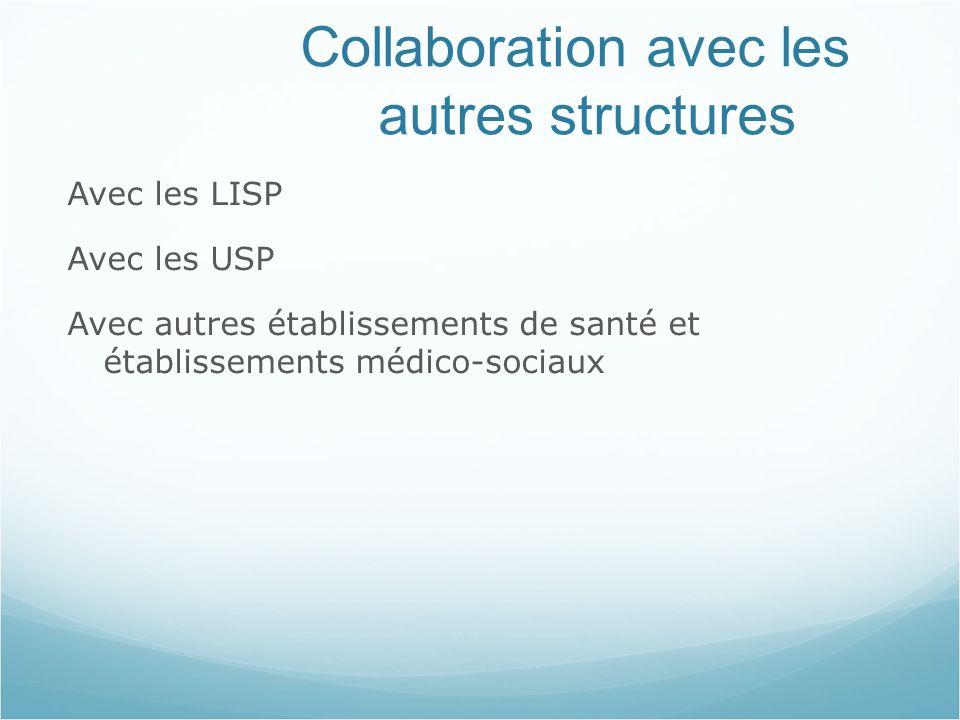 Collaboration avec les autres structures Avec les LISP Avec les USP Avec autres établissements de santé et établissements médico-sociaux