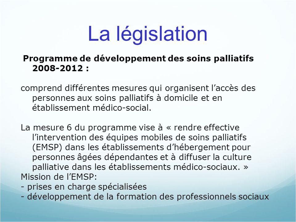 La législation Programme de développement des soins palliatifs 2008-2012 : comprend différentes mesures qui organisent laccès des personnes aux soins palliatifs à domicile et en établissement médico-social.