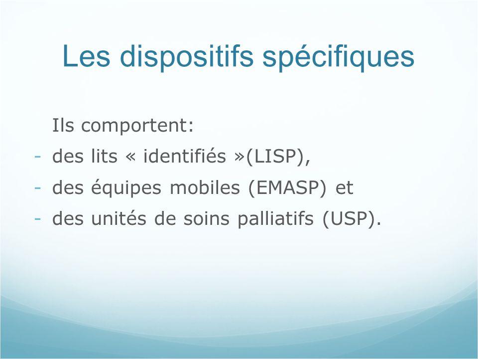 Les dispositifs spécifiques Ils comportent: -des lits « identifiés »(LISP), -des équipes mobiles (EMASP) et -des unités de soins palliatifs (USP).
