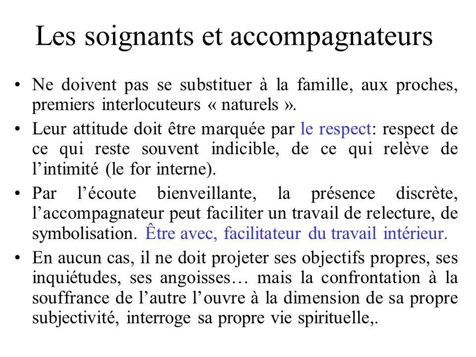 Les soignants et accompagnateurs Ne doivent pas se substituer à la famille, aux proches, premiers interlocuteurs « naturels ». Leur attitude doit être