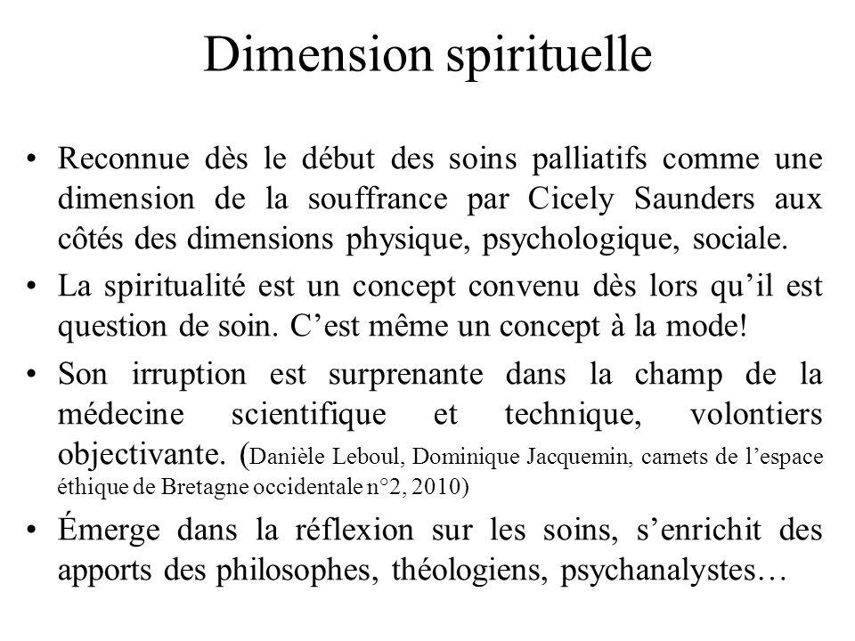 Dimension spirituelle Reconnue dès le début des soins palliatifs comme une dimension de la souffrance par Cicely Saunders aux côtés des dimensions phy