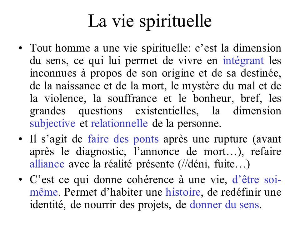 La vie spirituelle Tout homme a une vie spirituelle: cest la dimension du sens, ce qui lui permet de vivre en intégrant les inconnues à propos de son
