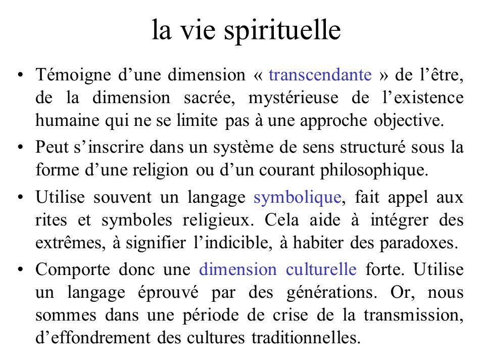 la vie spirituelle Témoigne dune dimension « transcendante » de lêtre, de la dimension sacrée, mystérieuse de lexistence humaine qui ne se limite pas