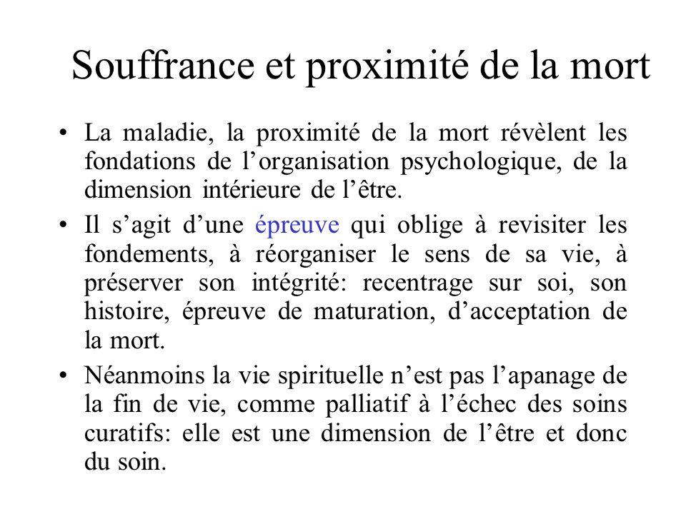Souffrance et proximité de la mort La maladie, la proximité de la mort révèlent les fondations de lorganisation psychologique, de la dimension intérie