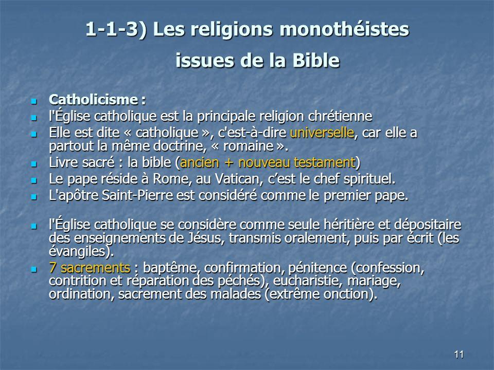 11 1-1-3) Les religions monothéistes issues de la Bible 1-1-3) Les religions monothéistes issues de la Bible Catholicisme : Catholicisme : l'Église ca